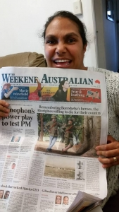 Rona Tranby Grant recipient Elsie Amamoo with The Australian newspaper