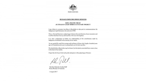 Malcolm Turnbull letter supporting Rona Tranby Grant recipients