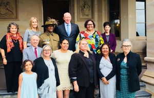 Rona Tranby Australian Light Horse Project Group at the NSW Government House with David Hurley